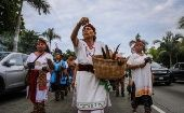 Indigenous people march in Acapulco, Mexico, on International Day of the World