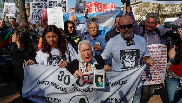 Nora Cortiñas (L) at a protest against forced disappearances in Buenos Aires, September 2017.