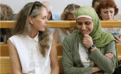 Dareen Tatour and her lawyer Gaby Lasky (R)