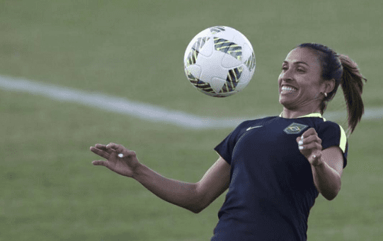 Marta of Brazil controls the ball during a training session at the World Cup in Rio de Janiero, Brazil, 8 June, 2016.