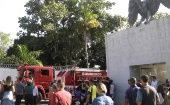 A fire truck outside the training center football club Flamengo after the deadly blaze.
