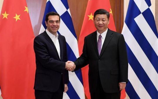 Greek Prime Minister Alexis Tsipiras pictured with China's Xi Jinping.