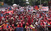 Venezuelan people mobilized to commemorate the first anniversary of President Nicolas Maduro