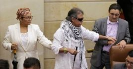Jesus Santrich arrives to a plenary session for the first time as a lawmaker at the Congress in Bogota, Colombia June 12, 2019.