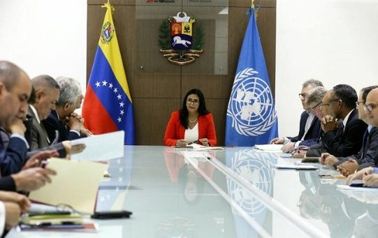 Venezuelan Vice President Delcy Rodriguez at a meeting with the United Nations to develop more cooperation with the multilateral organization.