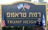Israeli Prime Minister Benjamin Netanyahu speaks during a ceremony to unveil a sign for a new community named after U.S. President Donald Trump, in the Israeli-occupied Golan Heights June 16, 2019.