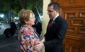 U.N. High Commissioner for Human Rights Michelle Bachelet met with Venezuelan Minister of Foreign Affairs Jorge Arreaza.