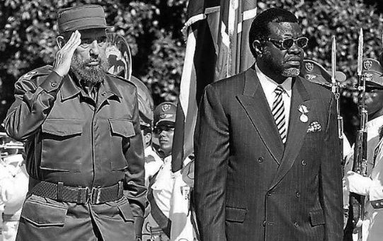 Late Cuban Leader Fidel Castro and Namibia's former President Sam Nujoma during an official meeting.