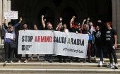 Activists protest UK arms sales to Saudi Arabia in London.