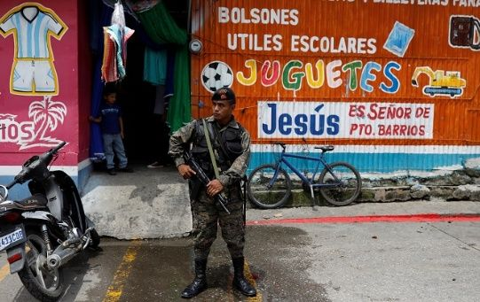 Soldier in a temporary state of seige in Guatemala along the coast Sept 11, 2019