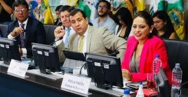 Prefect of Pichincha Paola Pabon at a meeting of subnational governments in Quito, Ecuador, Oct. 1, 2019