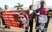 Socialist Equality Party activists at a rally in support of Chelsea Manning and Julian Assange, Colombo, Sri Lanka, March 3, 2020.
