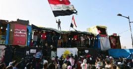 Iraqi protesters demonstrate outside U.S. embassy in Baghdad.