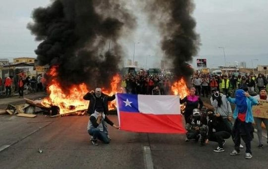 Protestants in Chile during the Day of the Youth Combatant, March 29