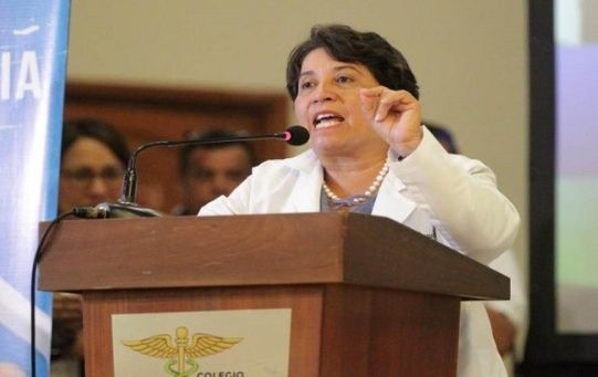 The president of the Honduran Medical College, Suyapa Figueroa, speaks during a meeting that tries to solve the problems of health and education in the country on June 16, 2020