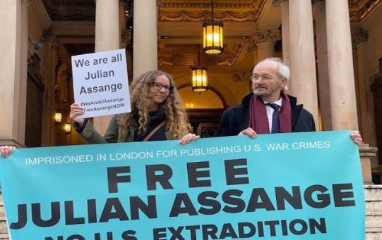 Julian Assange's father John Shipton participates in a protest in Sydney, Australia, June 29, 2020.